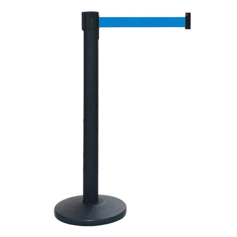 Pedestal Separador de Fila Easyline Neon Preto com Fita Azul