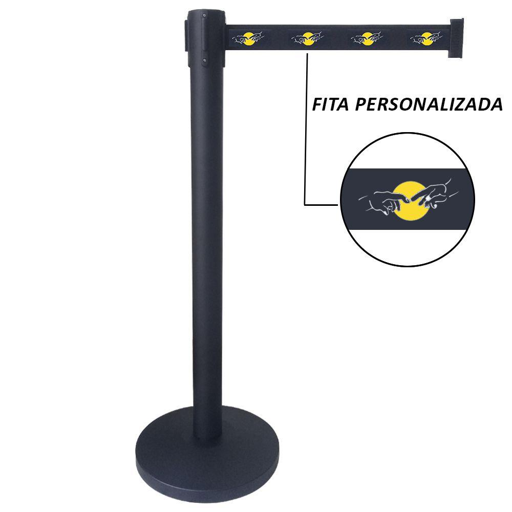 Pedestal Separador de Fila PRETO com fita PERSONALIZADA