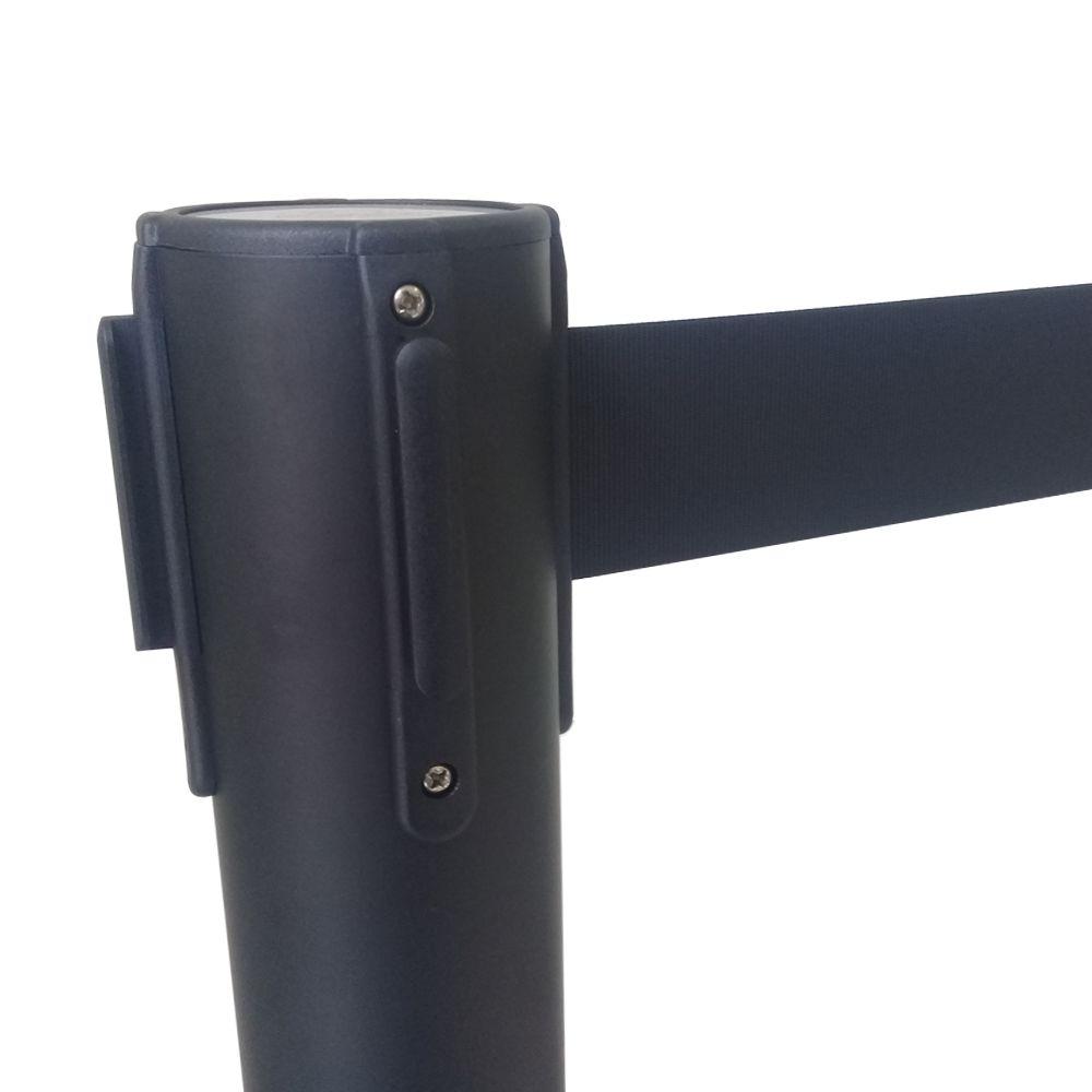 Pedestal separador de fila PRETO com fita PRETA