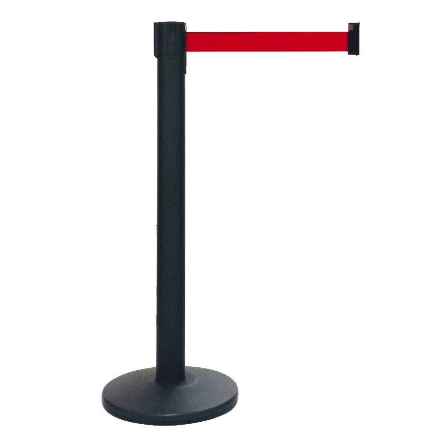 Pedestal Separador de Fila Easyline Neon Preto com Fita Vermelha