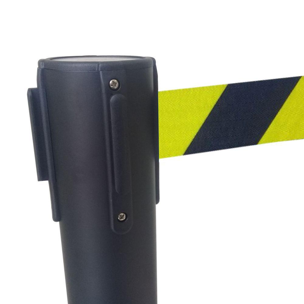 Pedestal Separador de Fila PRETO com fita ZEBRADA