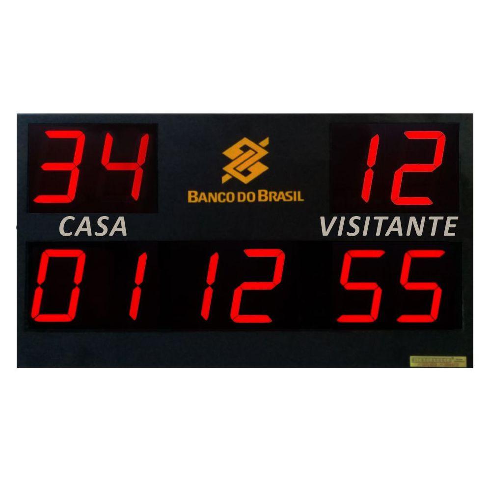 Placar Eletrônico Time A x Time B com Cronômetro + 2 Controles + 1 Teclado Controlador