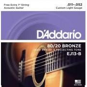 Encordoamento Daddario EJ13-B 011 P/ Violão Aço + 1 Extra