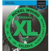 Encordoamento Daddario EXL220-5 040 P/ Contra Baixo 5 Cordas