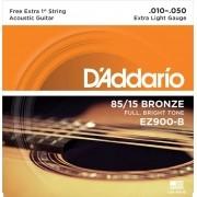 Encordoamento Daddario Extra Light EZ900-B 010 P/ Violão Aço + 1 Extra
