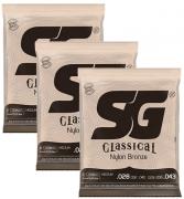 Encordoamento SG Violao Classical Nylon Bronze - Kit C/ 3 Jogos