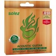 Encordoamento Solez SLAPB-10 Bronze 010 P/ Violão Aço + Extra