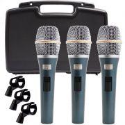 Kit 3 Microfone Kadosh K98 C/ Cachimbo + Case