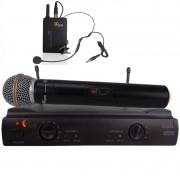 Microfone Duplo S/ Fio Kadosh Kdsw 402c Mão + Headset Uhf