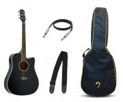 Violão Elétrico Aço Folk Strinberg London Preto LE30C Brilhante + Bag e Acessórios