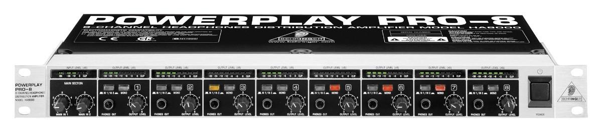 Amplificador de Fone Behringer Power Play Pro8  Ha8000 8 Canais