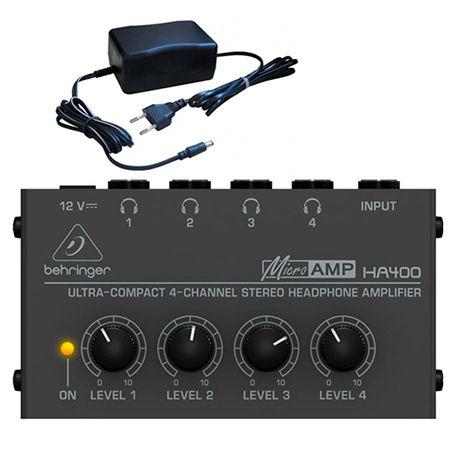 Amplificador De Fones Behringer Power Play Ha400 4 Canais 2 Anos Garantia