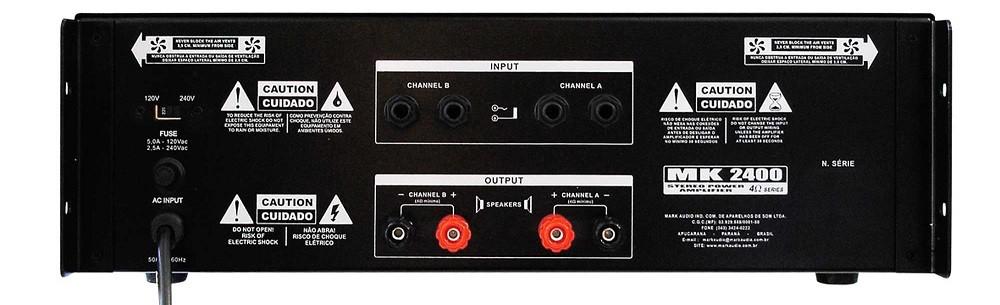 Amplificador Potência Mark Audio MK2400 400w RMS