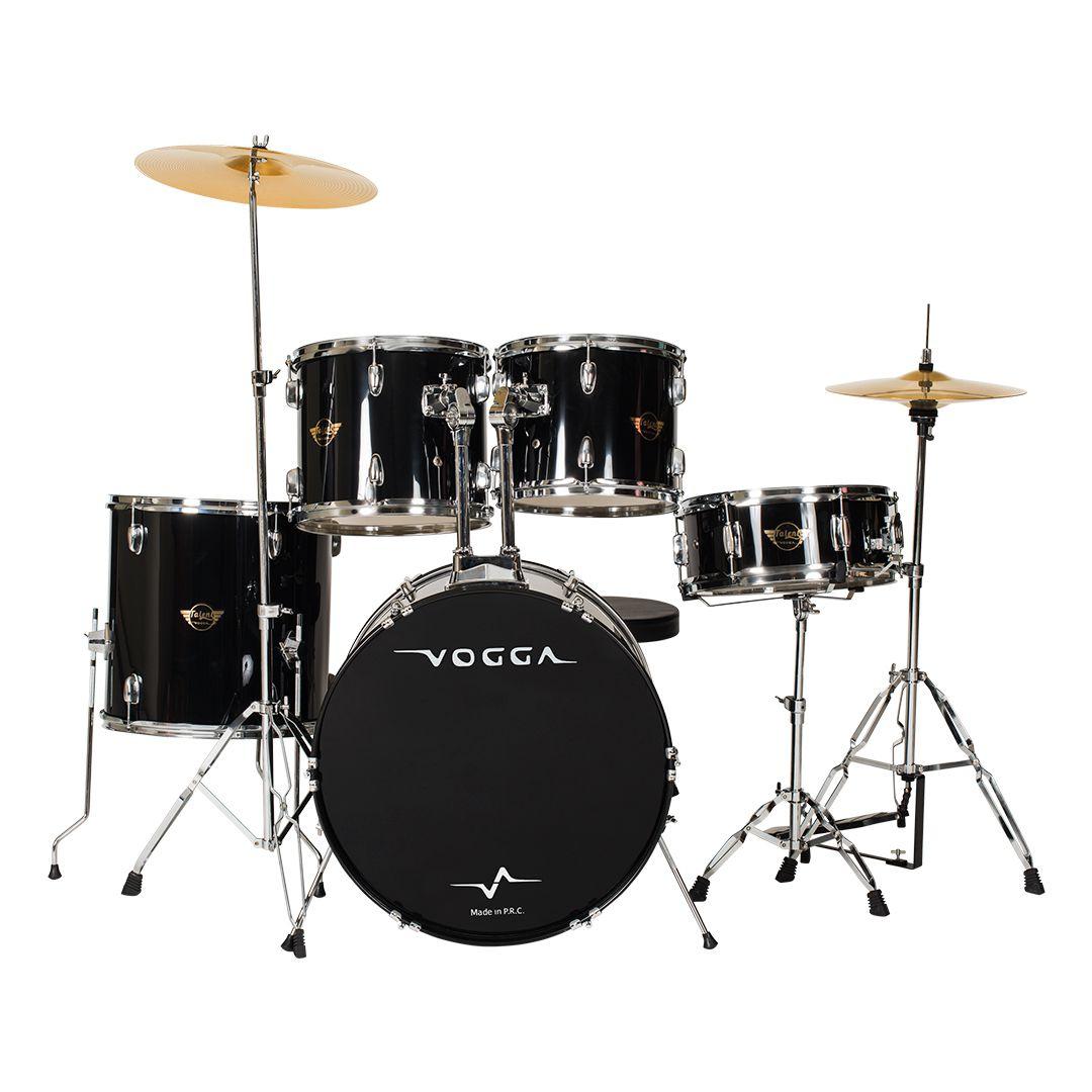 Bateria Acústica Preta Vogga Talent VPD24 BK Bumbo 22