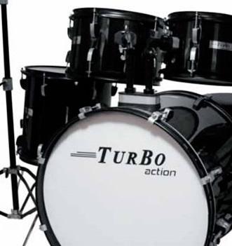 Bateria Acustica Turbo Action Sp525 Bumbo 20 C/ Pratos e Banco