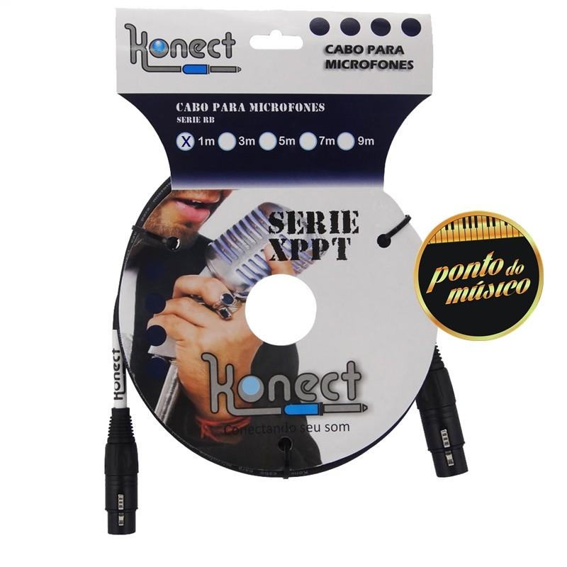 Cabo Konect XLR x XLR Serie PT 3 Metros P/ Microfone