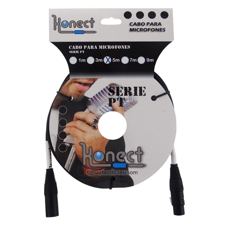 Cabo Konect XLR x XLR Serie PT 5 Metros P/ Microfone