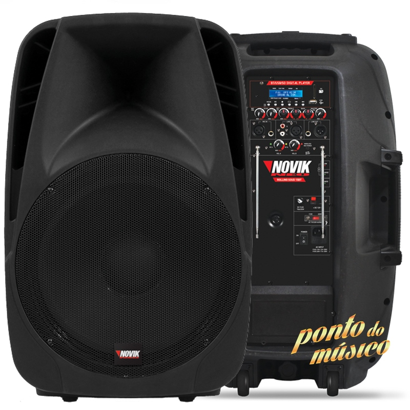Caixa Ativa Novik Rolling Sound 15bt Portatil C/ Bateria