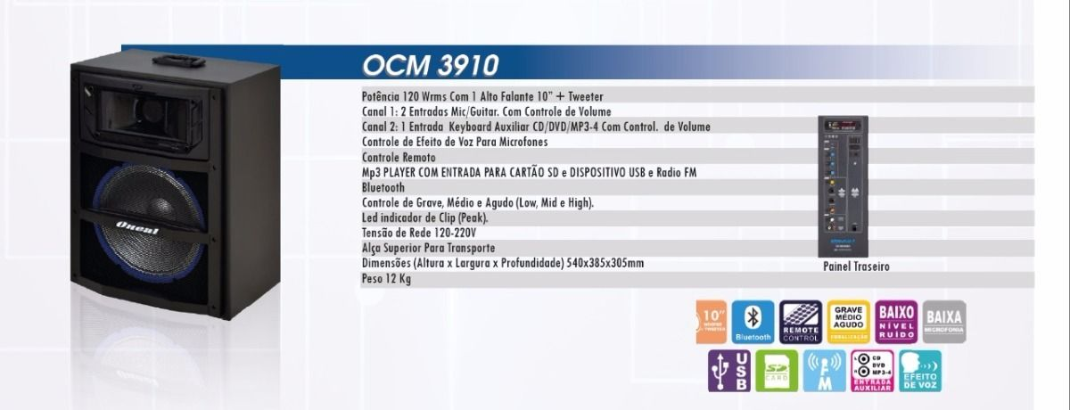Caixa Multiuso Oneal 10 OCM3910 120w Rms Bluetooth USB / FM / Sd Card
