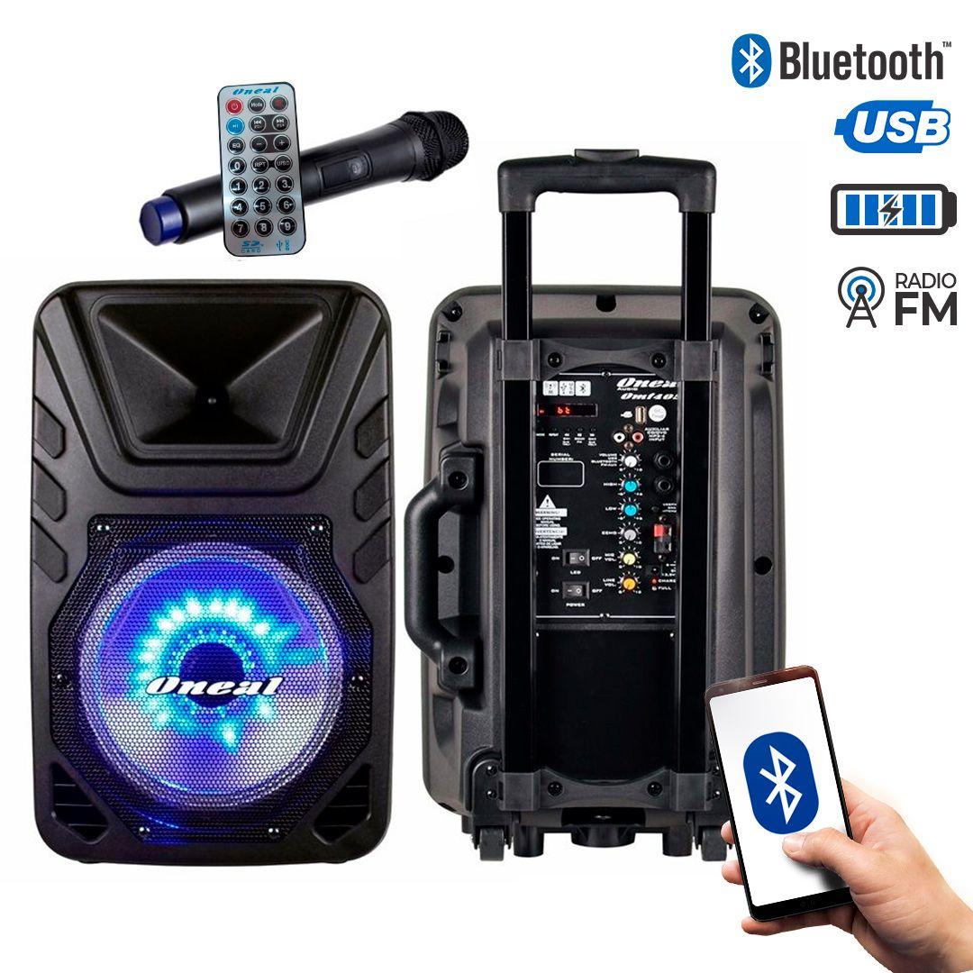 Caixa Multiuso Oneal 12 OMF425 110w Rms Bt USB FM C/ Bateria e Microfone Sem Fio