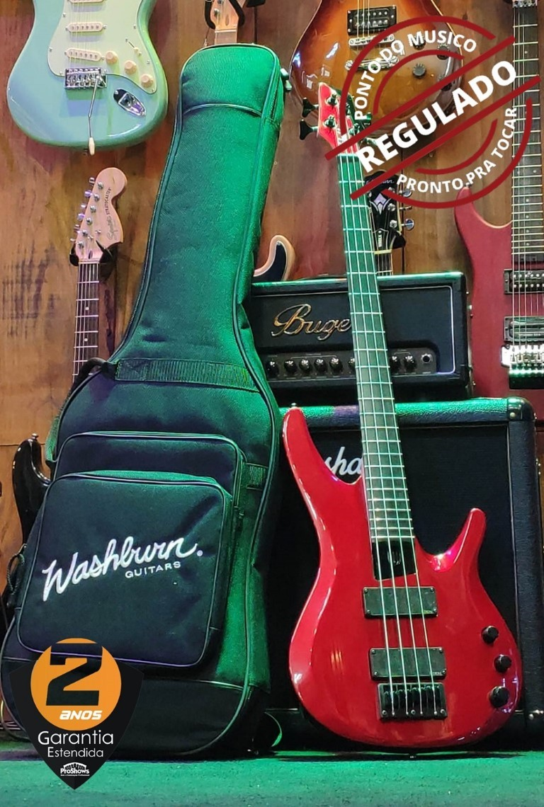 Contra baixo 4 cordas Washburn BB14MR Vermelho Metálico Com Bag