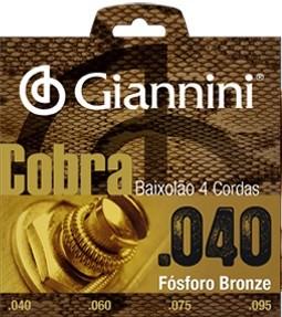 Encordoamento Giannini GEEBALF Cobra Bronze 040 P/ Baixolão 4 Cordas