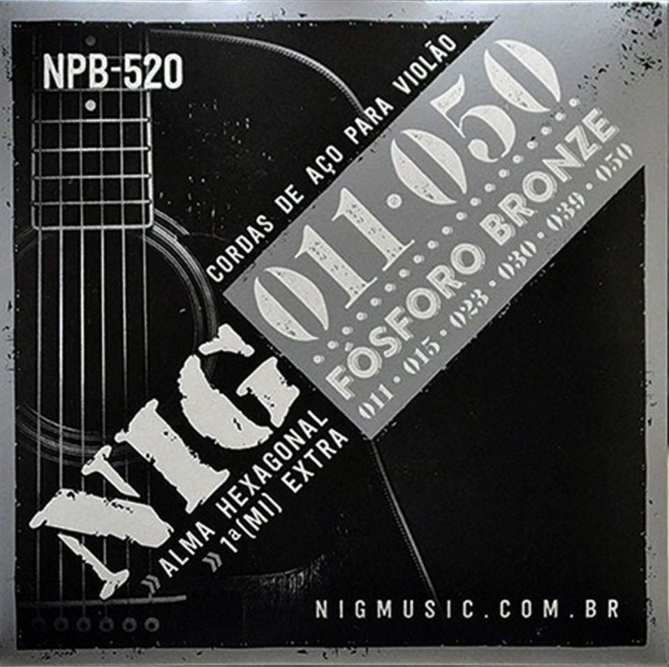 Encordoamento Nig NPB520 Fósforo Bronze 011 P/ Violão