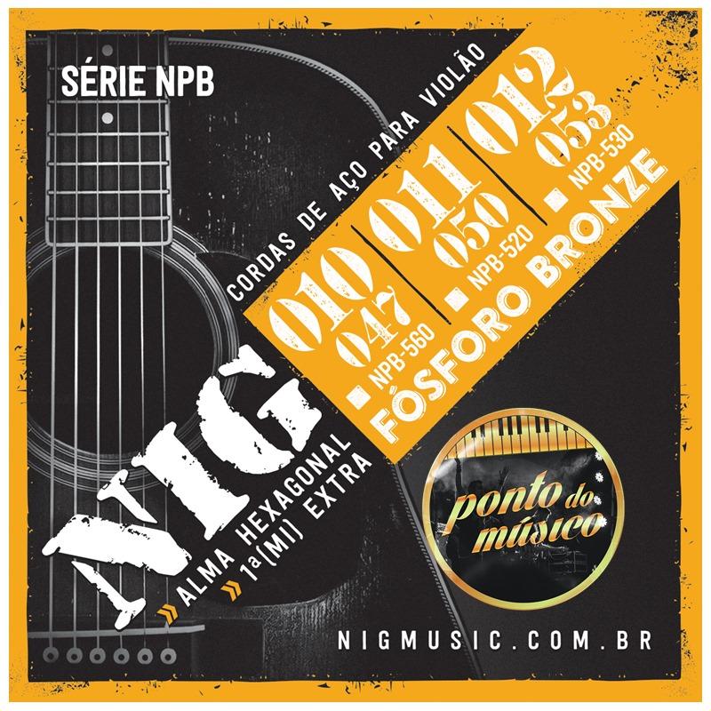Encordoamento Nig Npb-560 Fósforo Bronze 010 P/ Violão