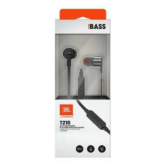 Fone De Ouvido JBL T210 Preto Pure Bass Com Microfone