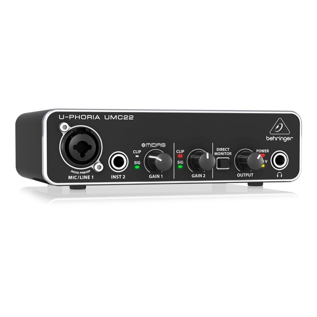 Interface De Áudio Behringer Umc22 Usb U-phoria Com Pré Midas 2 Anos Garantia