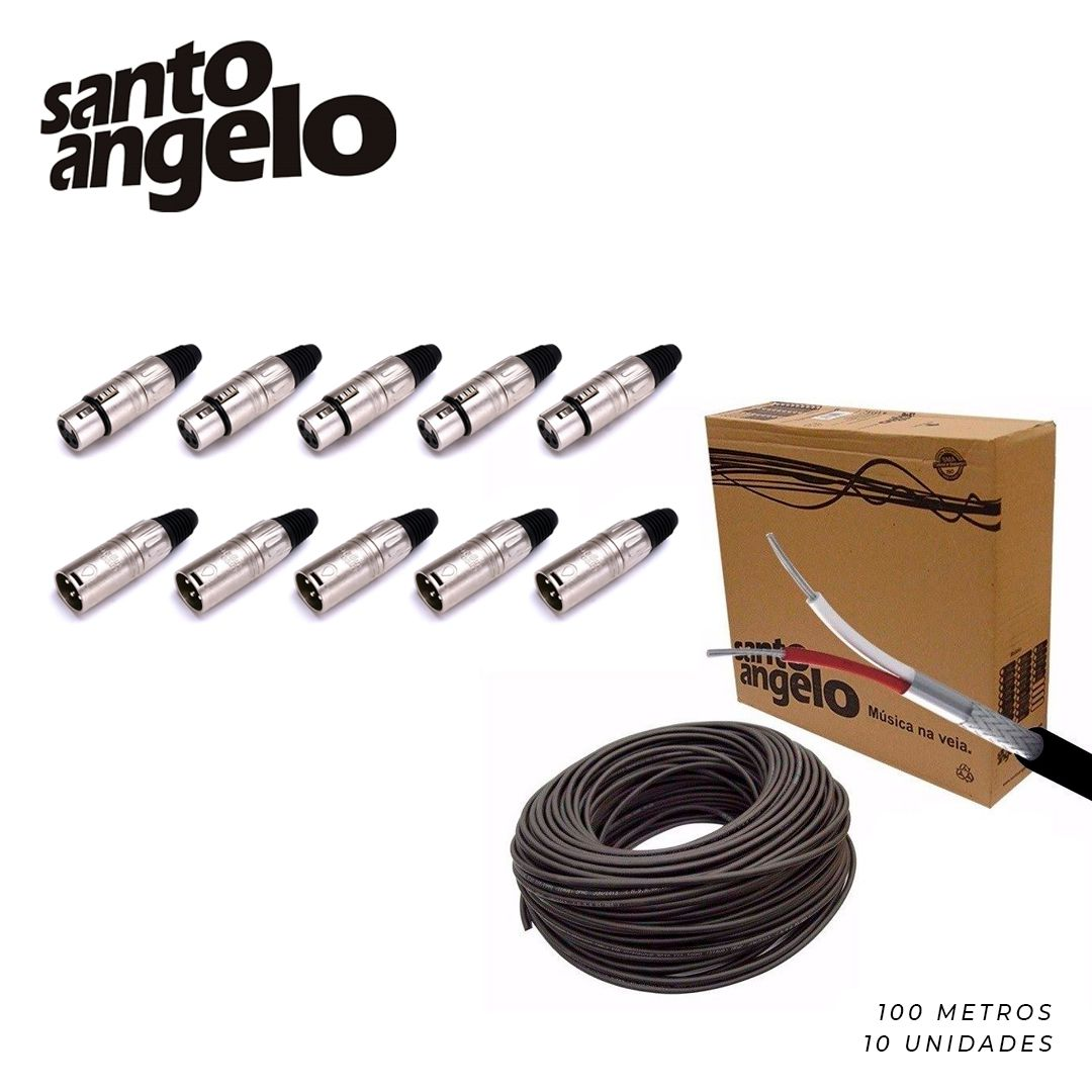 Kit 100m Cabo X30 Santo Angelo + 10 Conectores XLR Macho/Fêmea