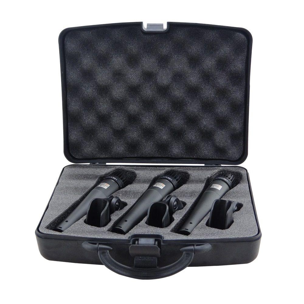Kit 3 Microfone Profissional Kadosh K57 Vocal Bateria Percussão + Cachimbo + Case