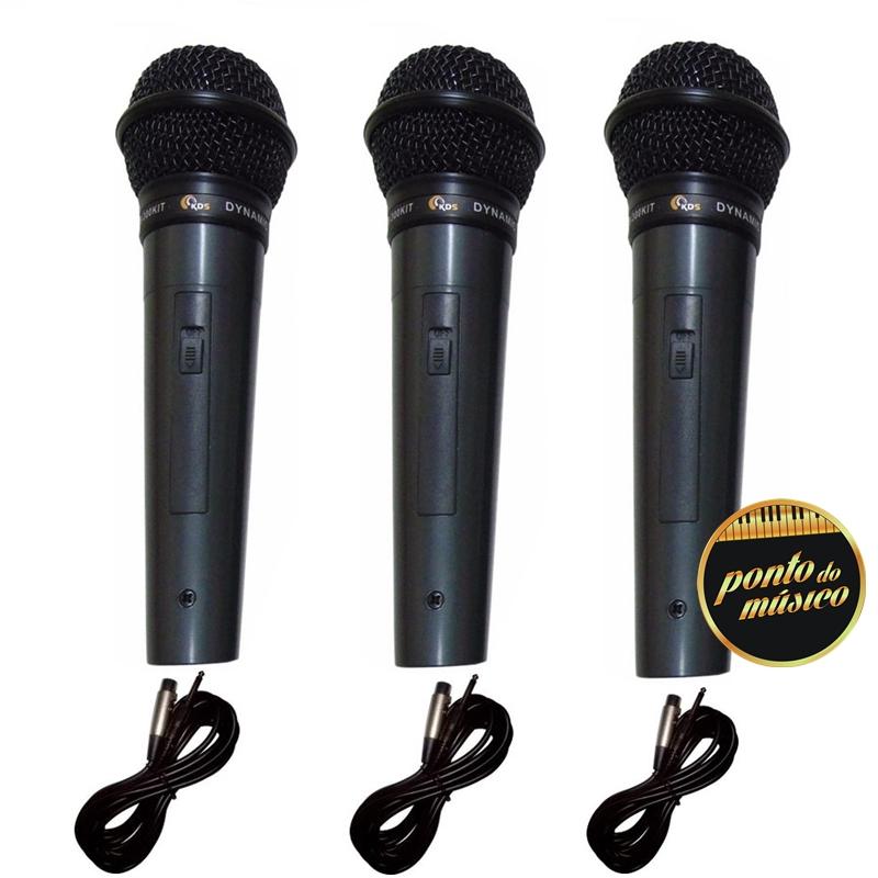 Kit Microfone Profissional Kadosh Kds-300 C/ Cabo - 3 Peças