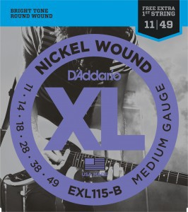 Kit 4 Encordoamentos Guitarra D'Addario EXL115B 011