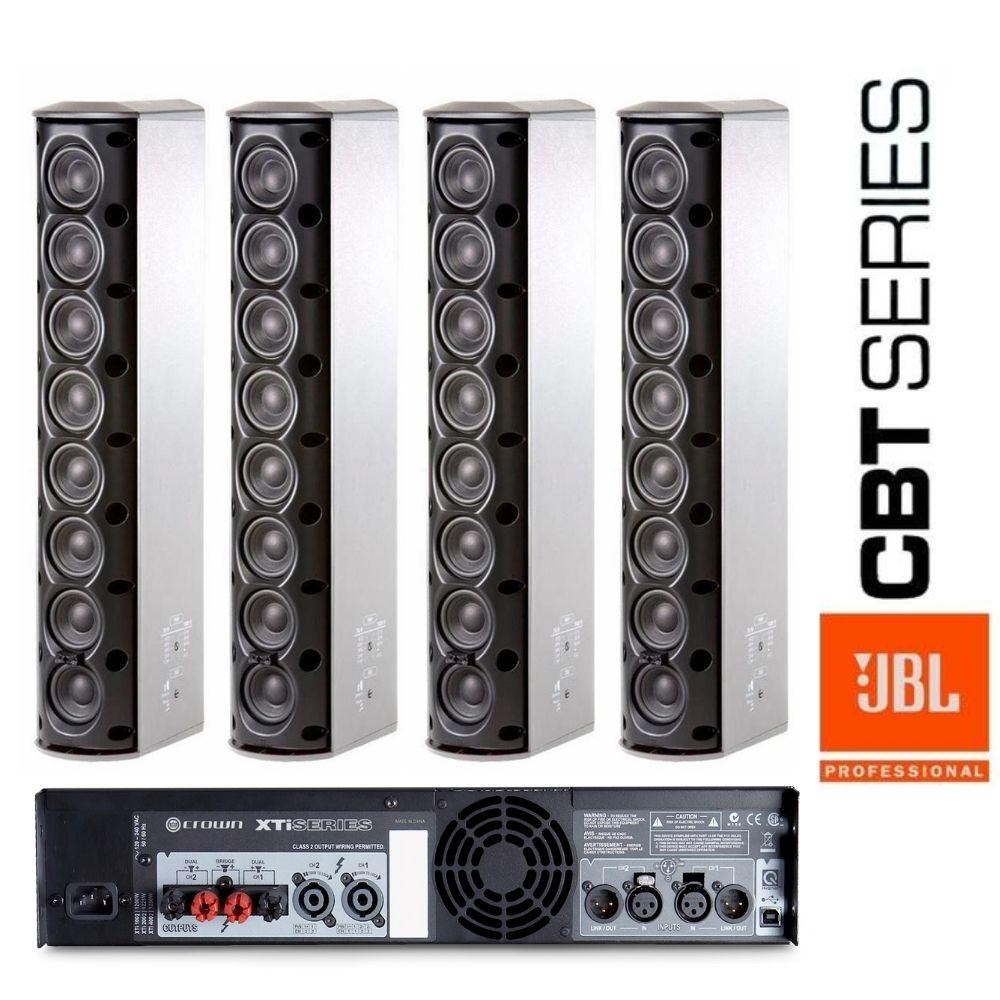 Kit Caixa Passiva Jbl Cbt 50 La1 Branca + Amplificador Crown Xti 4002