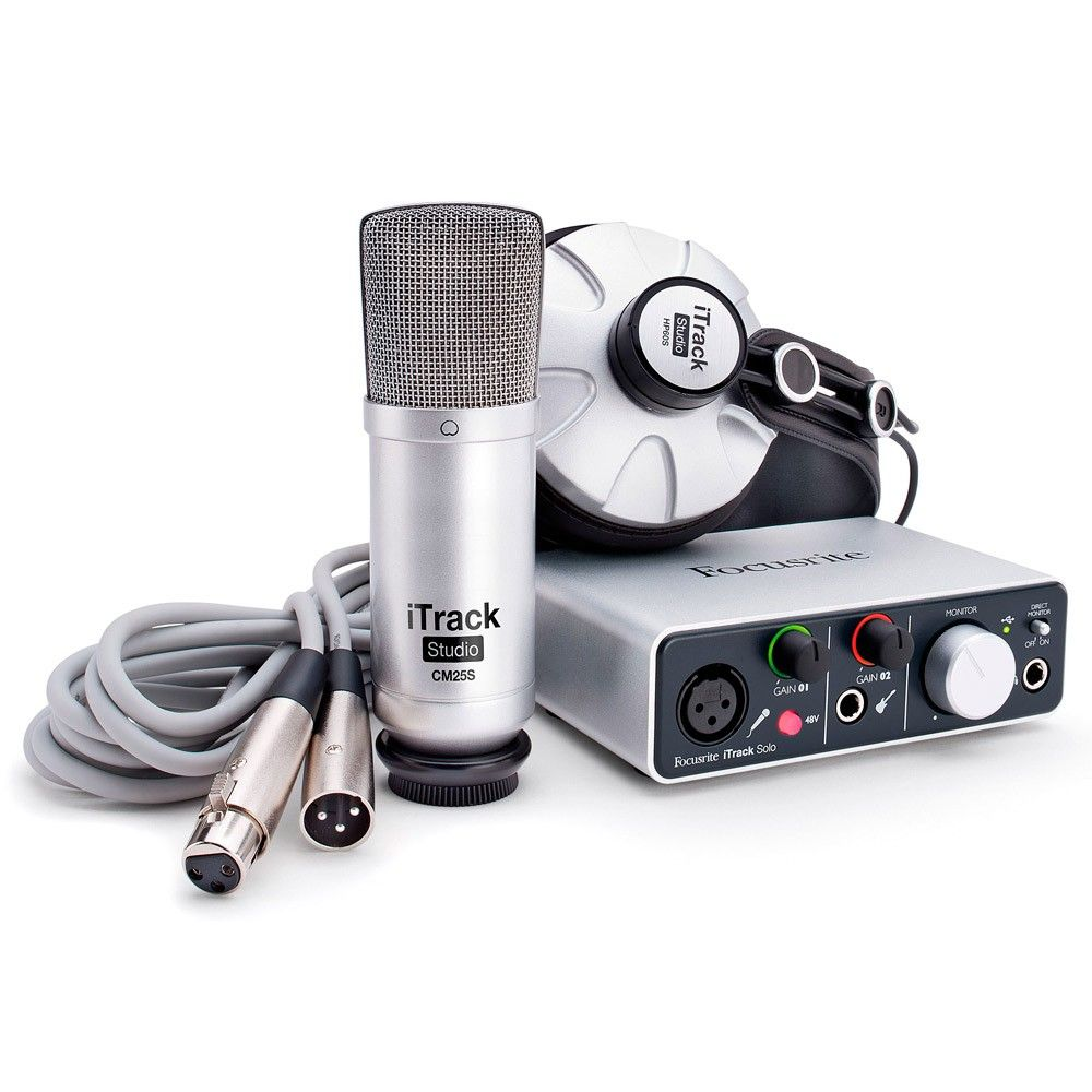 Kit Gravação Focusrite Itrack Studio USB C/ Placa | Microfone | Fone
