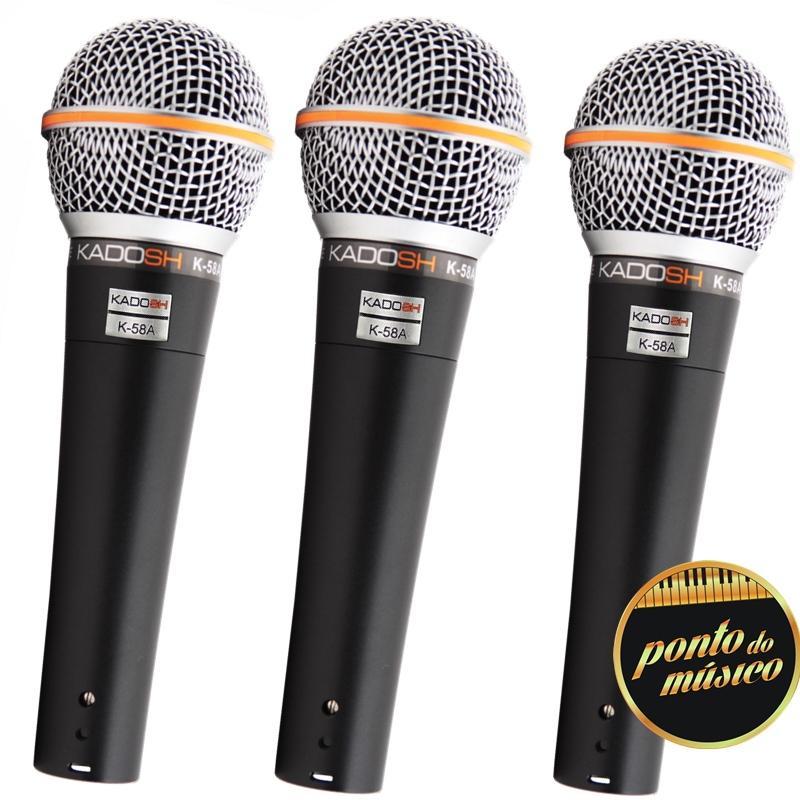 Kit Microfone Kadosh K58a Dinâmico C/ Maleta - 3 Peças
