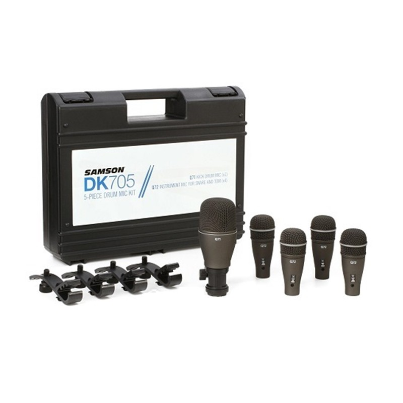 Kit Microfone Samson DK705  5 Peças Com Case P/ Percussão e Bateria