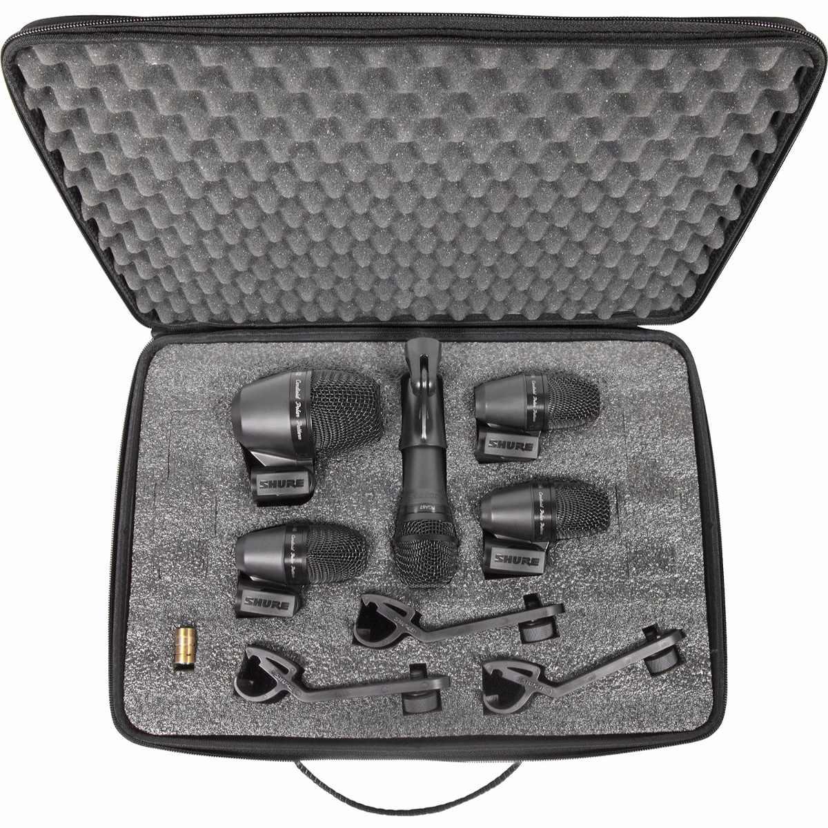 Kit Microfone Shure PGA DRUM KIT 5 Peças P/ Percussão e Bateria