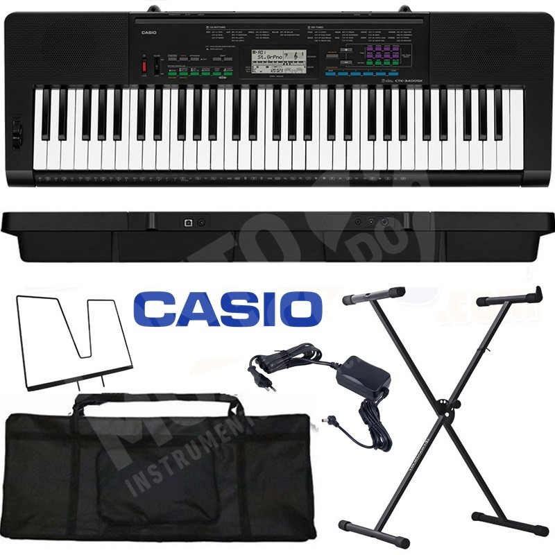 Kit Teclado Casio Ctk3400 61 Teclas Usb + Suporte / Capa / Fonte