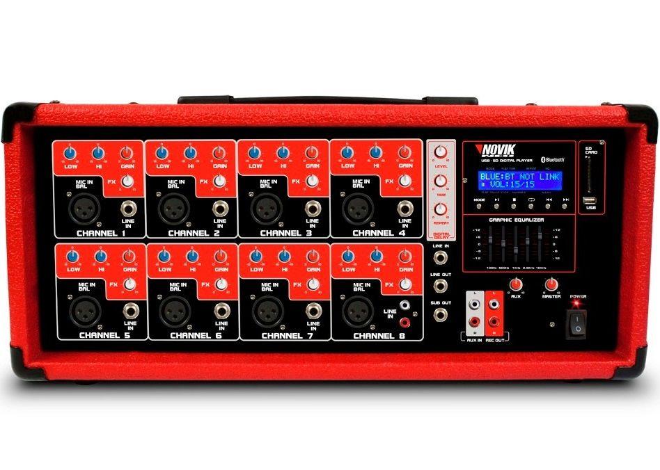 Cabeçote Mesa Amplificada Novik Nvk 8500Bt 8 Canais 250w Rms C/ Controle