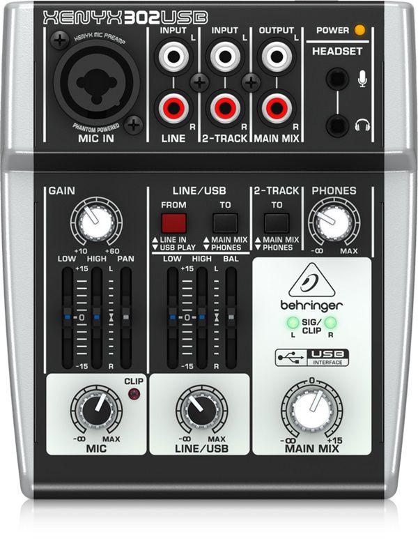 Mesa de Som Behringer Xenyx 302 USB Mixer