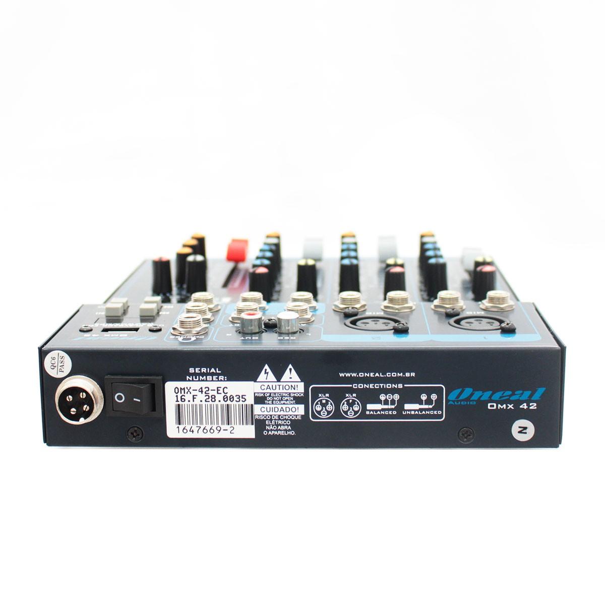 Mesa De Som Oneal OMX42 USB 2 Canais XLR / P10