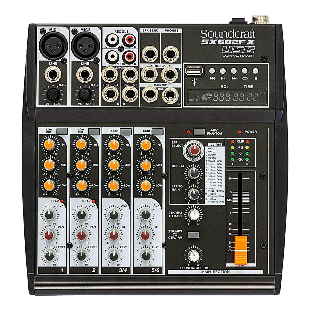 Mesa de Som Soundcraft Sx602Fx Usb 6 Entradas