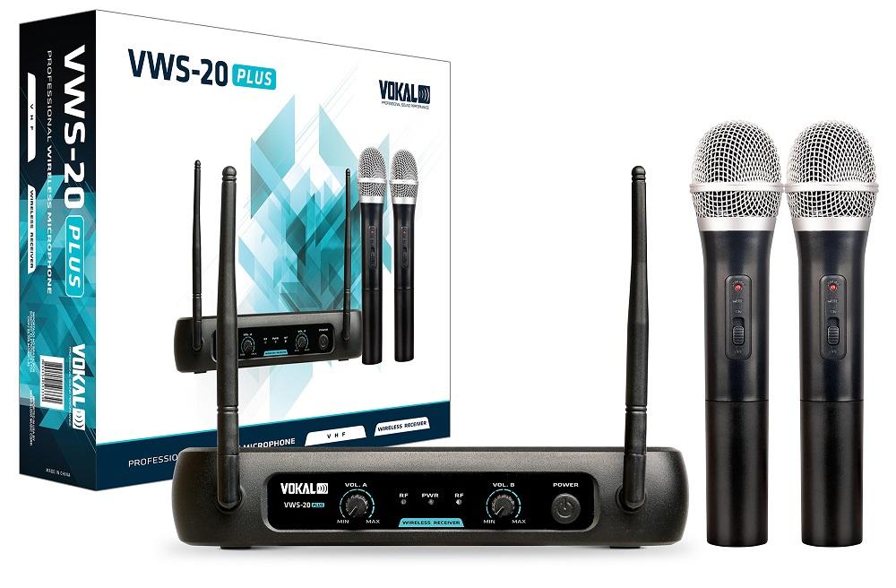Microfone Duplo Sem Fio Vokal VWS20 Plus Vhf De Mão