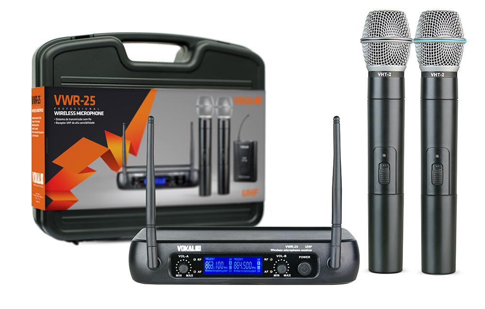 Microfone Duplo Sem Fio Vokal VWR25 Uhf De Mão Com Case