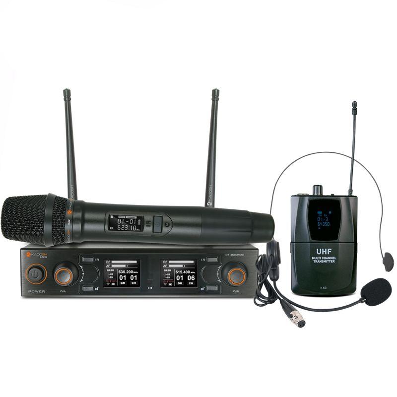 Microfone Duplo Sem Fio Digital Kadosh K502c C/ Headset e Mão Uhf