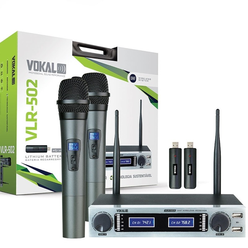 Microfone Duplo Sem Fio Recarregavel Vokal VLR502 UHF