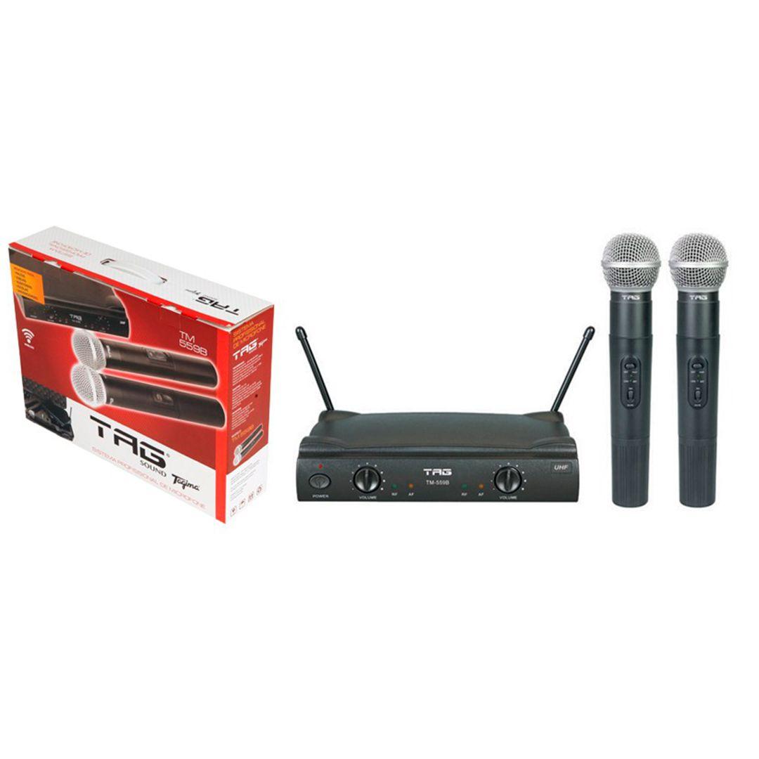 Microfone Sem Fio Duplo Tagima Tag Sound TM559B + 8 Pilhas de Brinde