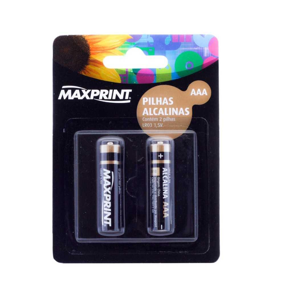 Pack de Pilha Alcalina Maxprint 1,5V - AAA (Com 2 Pilhas)